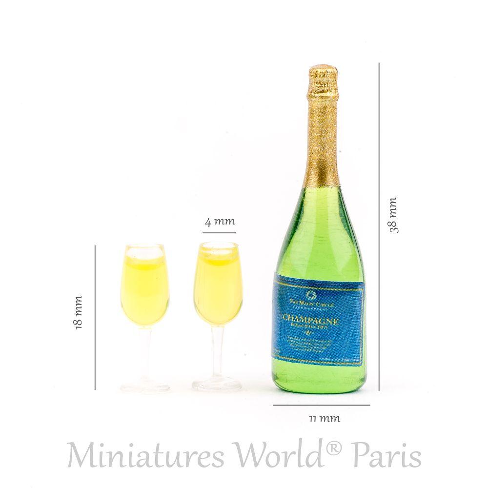 Bouteille de champagne avec 2 flûtes