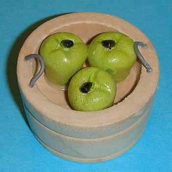 Grand pot en bois rond avec 3 pommes vertes – 786/240